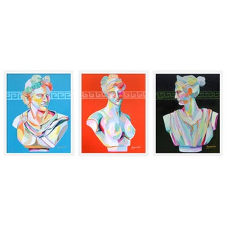 """Large """"Greek Busts, Set of 3"""" Print by Jennifer Sparancino, 51"""" x 21"""" For Sale"""