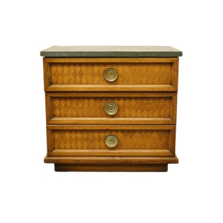 20th Century Traditionla Heritage Solid Walnut Parquet 3-Drawer Nightstand For Sale