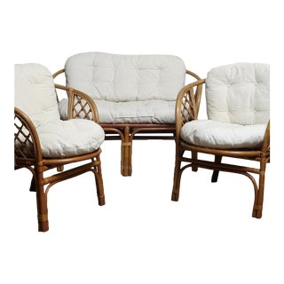Danish Wicker and Bamboo Lounge Chairs-Set of 3 For Sale
