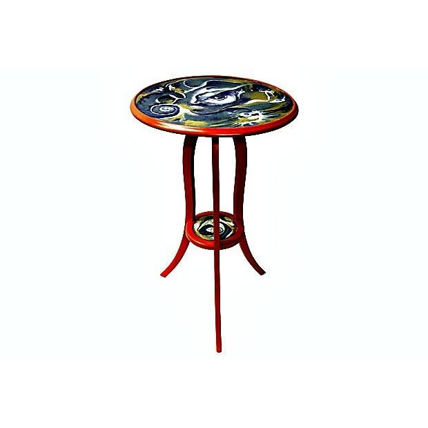 This is an small old table round top with three legs, made in mahogany wood that was recently re-painted by the Floridian...