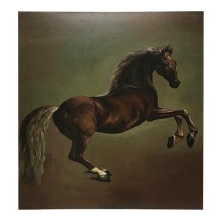 Mid 20th Century Vintage English Wild Stallion Painting