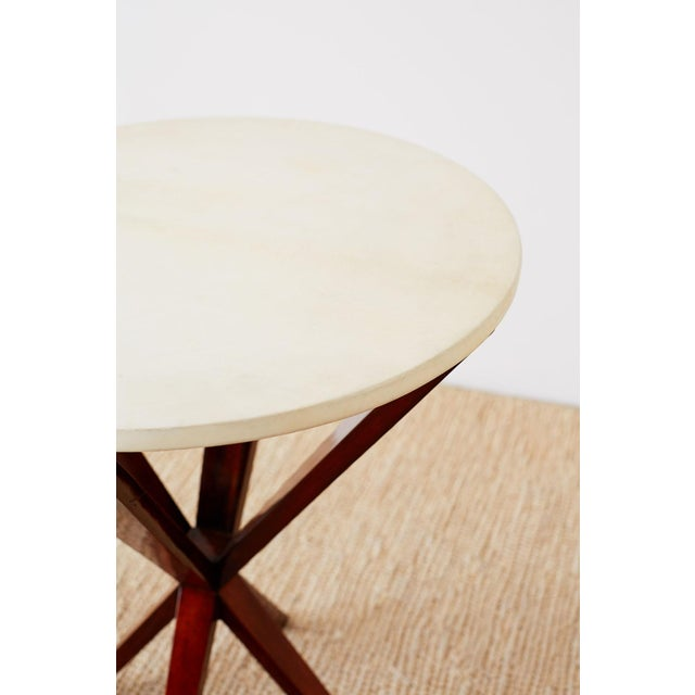 Animal Skin Art Deco Style Mahogany and Goatskin Vellum Drinks Table For Sale - Image 7 of 13