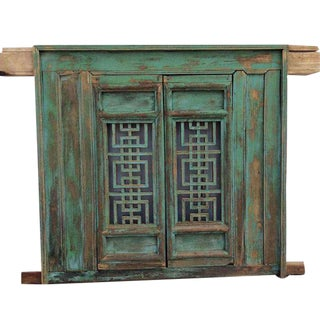 Rustic Antique Chinese Green Elm Screen Window For Sale