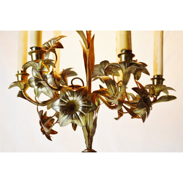 Early 20th Century Antique Toleware Candelabra Table Lamp With Marble Base For Sale - Image 5 of 13
