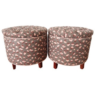 Contemporary Abstract Upholstered Ottomans - A Pair