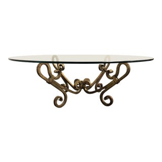 1940s Vintage Gilded Wrought Iron Base Coffee Table