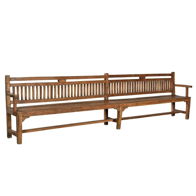 British Colonial Vintage Long Colonial Bench For Sale - Image 3 of 3
