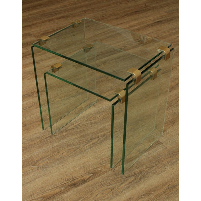 1970s Mid Century Modern Floating Glass & Brass Set 2 Nesting Tables For Sale - Image 5 of 13