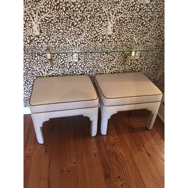 Tan Pair of Hermes Inspired Ottomans/Stools For Sale - Image 8 of 8