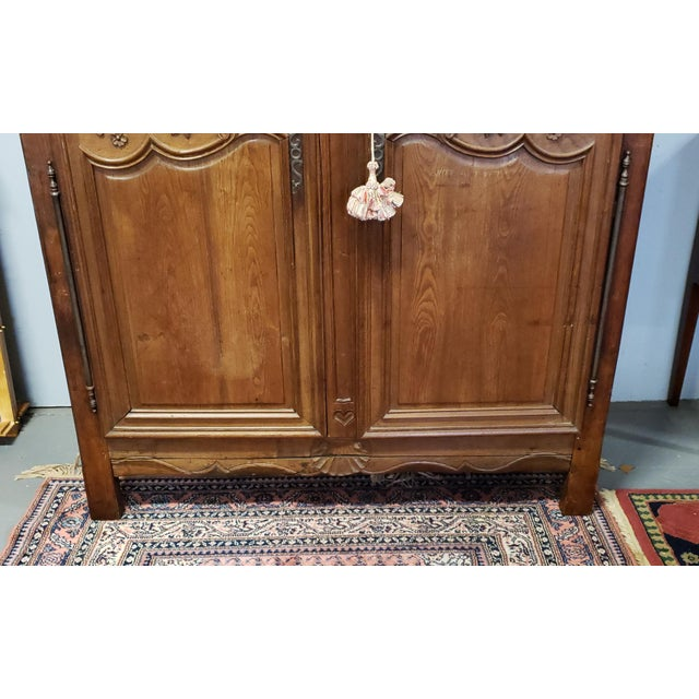 Antique 18th Century French Normandy Country Double Door Wedding Armoire Cabinet C1790 For Sale In New York - Image 6 of 13