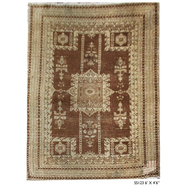"""Early 21st Century Vintage Handmade Agra Rug-4'6'x6"""" For Sale - Image 5 of 5"""