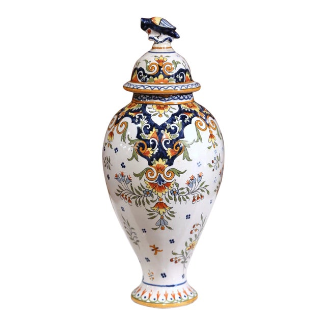 19th Century French Hand-Painted Ceramic Potiche and Lid From Rouen For Sale