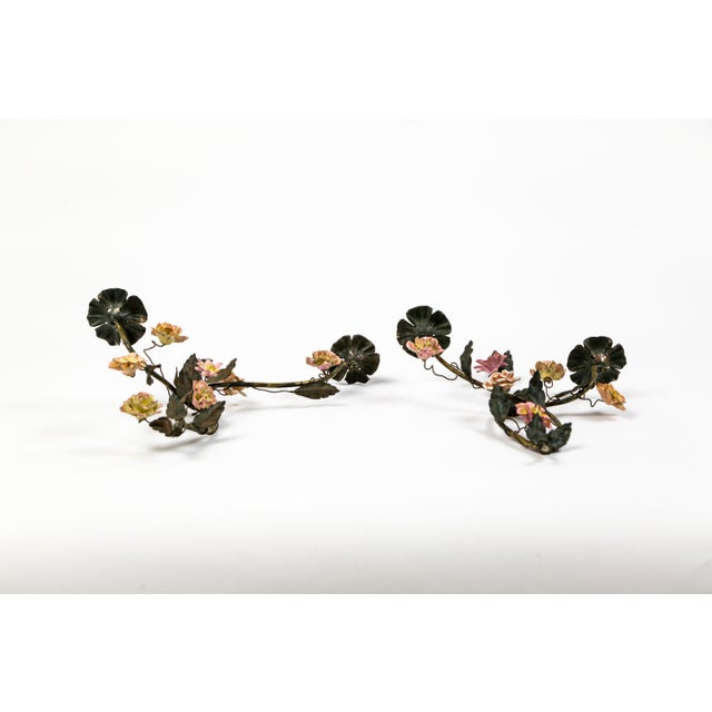 Tole and Porcelain Floral Wall Hanging Candle Holders - A Pair For Sale - Image 4 of 13