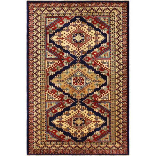Blue Sherwan Sheridan Blue/Ivory Wool Rug - 4'4 X 5'11 For Sale - Image 8 of 8