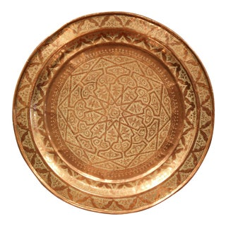 Early 20th Century French Round Copper Tray with Engraved Geometric Motifs