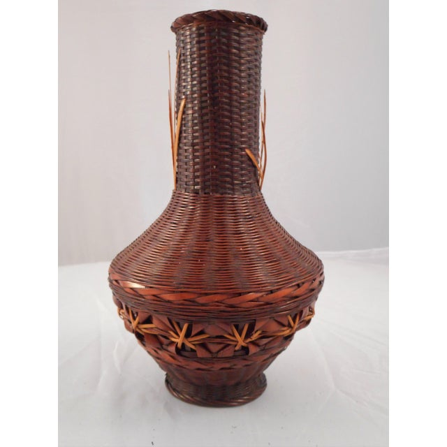 Antique Japanese Ikebana Hanakago Bamboo Vase of Exceptional Weaving. So many different stitching patterns give this vase...