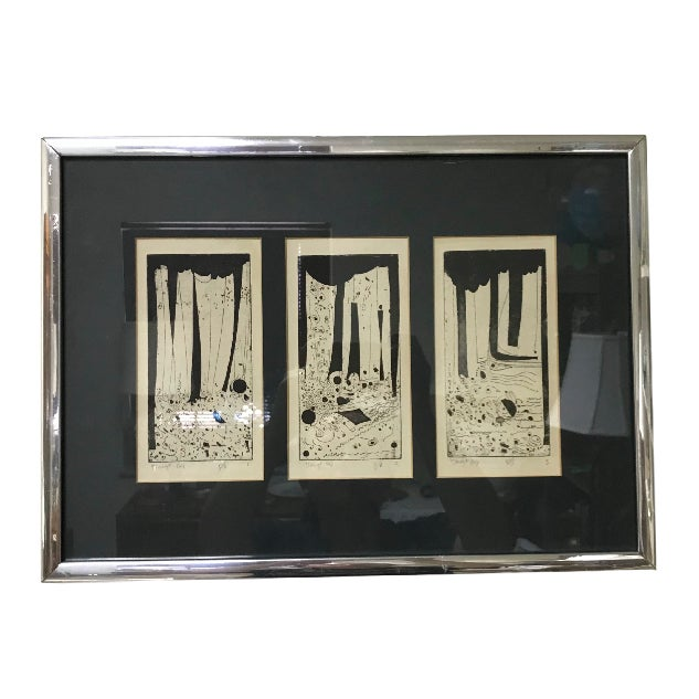 1960s Vintage Mid-Century Modern Abstract Trio Block Print Signed Voigt For Sale - Image 12 of 12