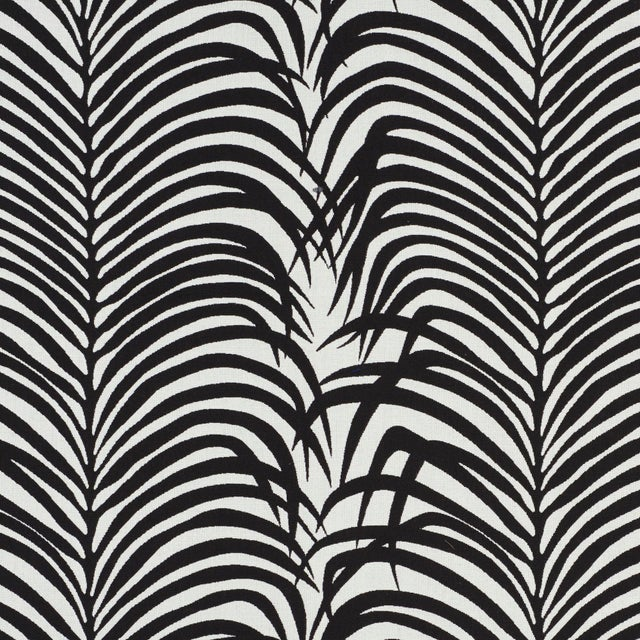 Contemporary Schumacher Zebra Palm Indoor/Outdoor Fabric in Black For Sale - Image 3 of 3