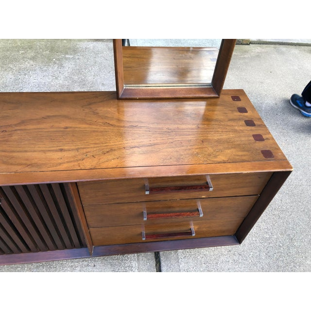 1960s Vintage Mid Century Lane Brutalist Dresser With Mirror For Sale - Image 9 of 13