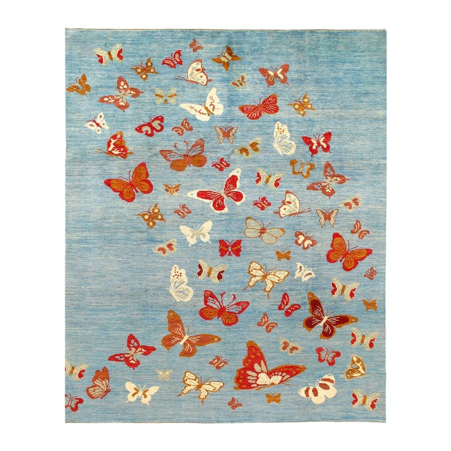 "Pasargad Modern Butterfly Kaleidoscope Rug- 7'5"" X 9'5"" For Sale"