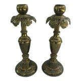 Image of Vintage Large Brass Palm Candle Holders - a Pair For Sale