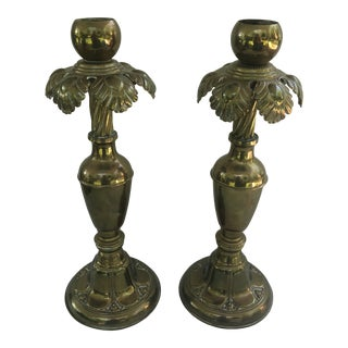 Vintage Large Brass Palm Candle Holders - a Pair For Sale