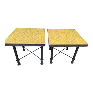 Vintage Side-Tables With Tile Top - a Pair For Sale