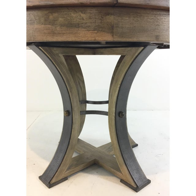 Stylish Sarreid Co. modern tower jupe extendable gray wood dining table, layered oak and iron pedestal base, showroom...