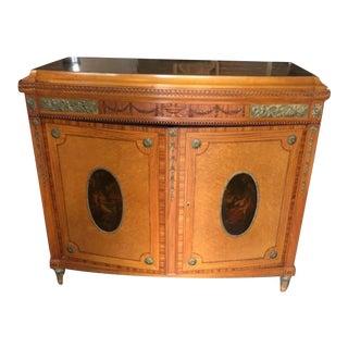 Antique Marble Top Satinwood 2 Door Cupboard For Sale
