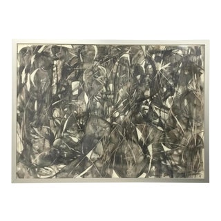 Large Format Framed Abstract Ink and Charcoal Drawing For Sale