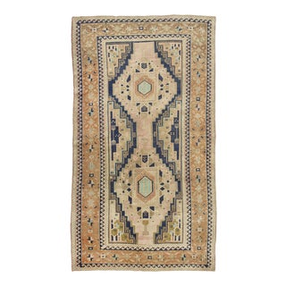 Antique Vintage Mid-Century 5x8 Turkish Geometric Rug For Sale
