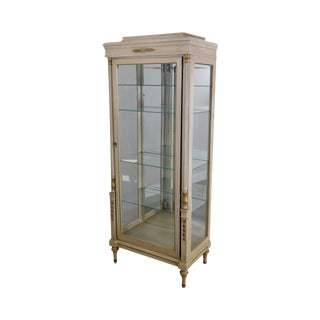 French Louis XVI Style Vintage White & Gold Vitrine Curio Cabinet For Sale