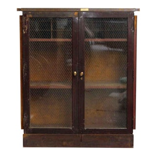 20th Century Industrial Metal Cabinet With Chicken Wire Glass Front For Sale