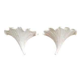 Contemporary Silk Fabric Wall Sconces by Aqua Gallery - a Pair - Signed - Morning Glory Flowers Off-White For Sale