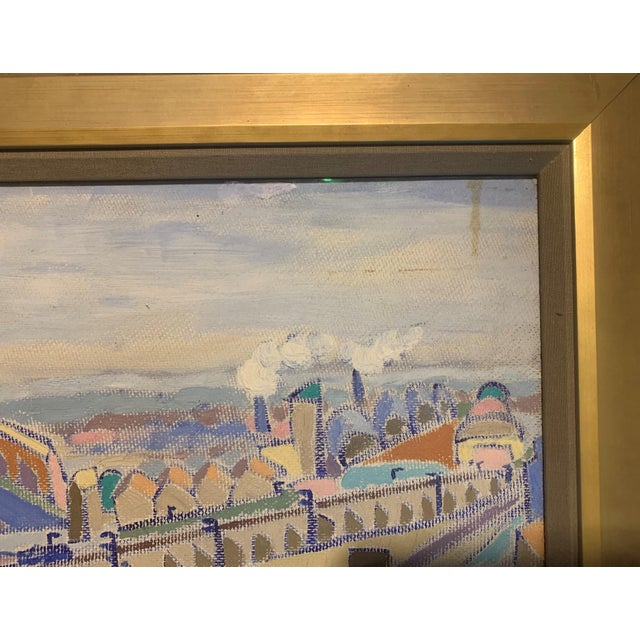 Vintage Mid-Century Modern Aerial Views Philadelphia Riverfront Neighborhoods Signed Framed Triptych Painting For Sale - Image 11 of 13