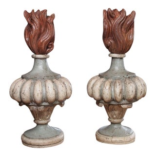 20th Century Pair of French Polychrome Finials For Sale