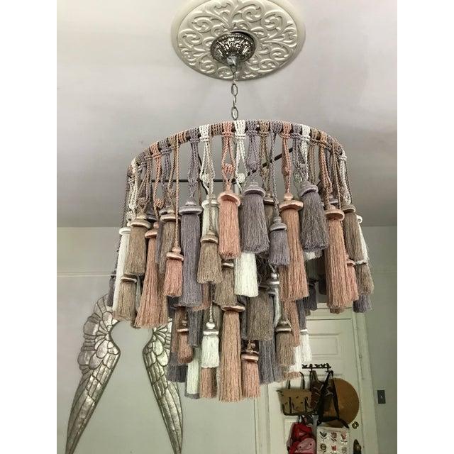 Boho Chic Ava Silk Tassel Chandelier For Sale - Image 3 of 7
