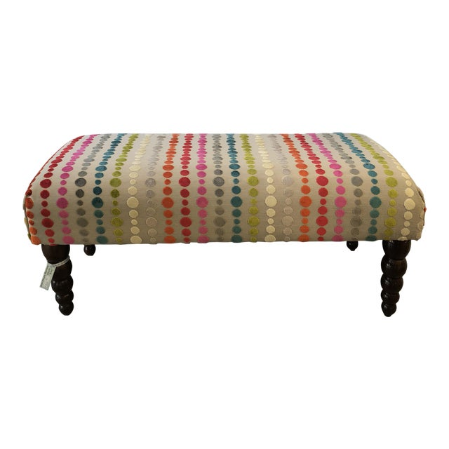 Bench Ottoman Multicolor Velvet Polka Dot Fabric For Sale