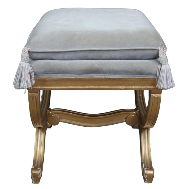French Vintage French Empire Regency Style Gold Vanity Stool For Sale - Image 3 of 13