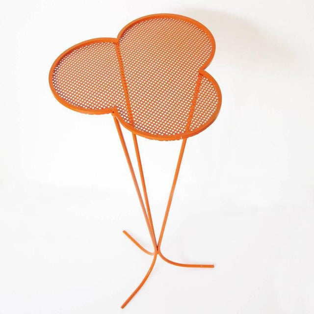 1950s Mathieu Mategot 1950s Orange Perforated Metal Pedestal or Tall Side Table For Sale - Image 5 of 9