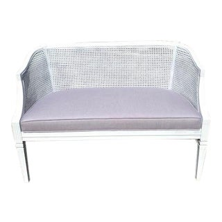 Neoclassical Cane Back Curved Settee For Sale