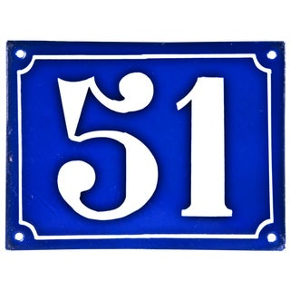 Large Vintage French Enamel House Number 51