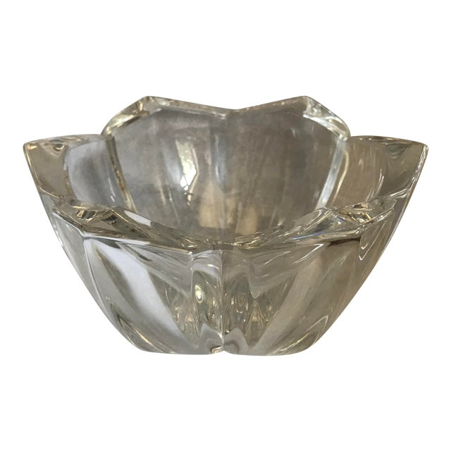 Vintage Heavy Thick Crystal Lotus Flower Candy/Dish For Sale
