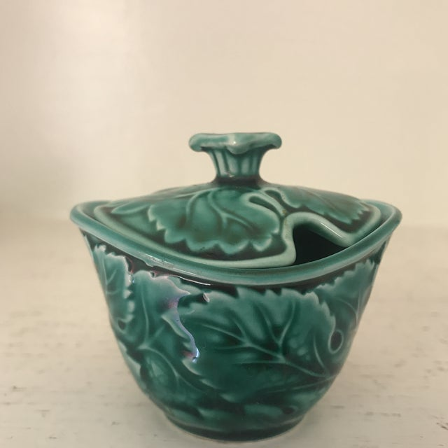 Ceramic Wedgwood Green Majolica Condiment Set For Sale - Image 7 of 11