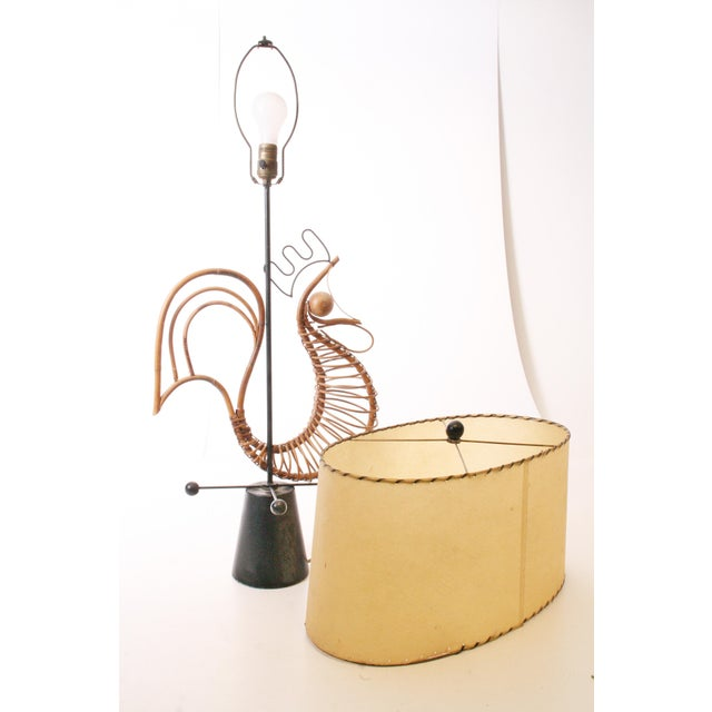 Frederick Weinberg Mid Century Modern Wicker Table Lamp For Sale - Image 9 of 11