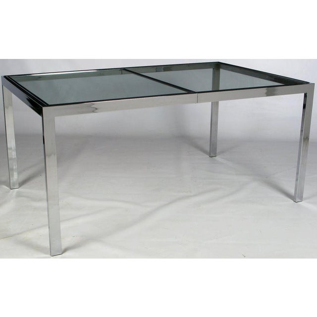 Chromed Steel Parsons Style Dining Table By Milo Baughman - Image 2 of 8