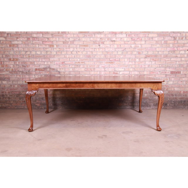 Baker Furniture Stately Homes Queen Anne Inlaid Walnut Extension Dining Table, Newly Refinished For Sale - Image 10 of 13