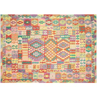 "Nalbandian - Contemporary Afghan Maimana Kilim - 6'9"" X 9'8"" For Sale"