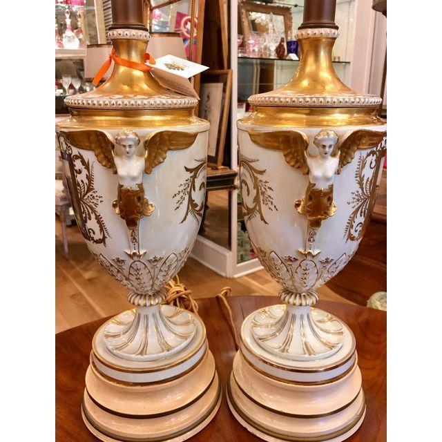 Dresden Porcelain Antique Dresden German Porcelain Lamps - Carl Thieme Potschappel For Sale - Image 4 of 7