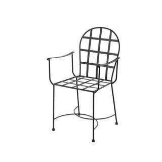 New Garden Armchair in Black Wrought Iron in Style of Salterini Preview